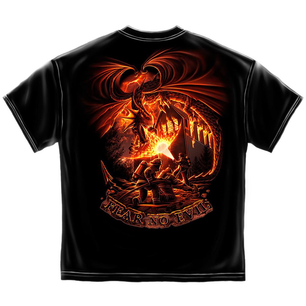 Erazor Bits Fear No Evil Firefighter Dragon T-Shirt