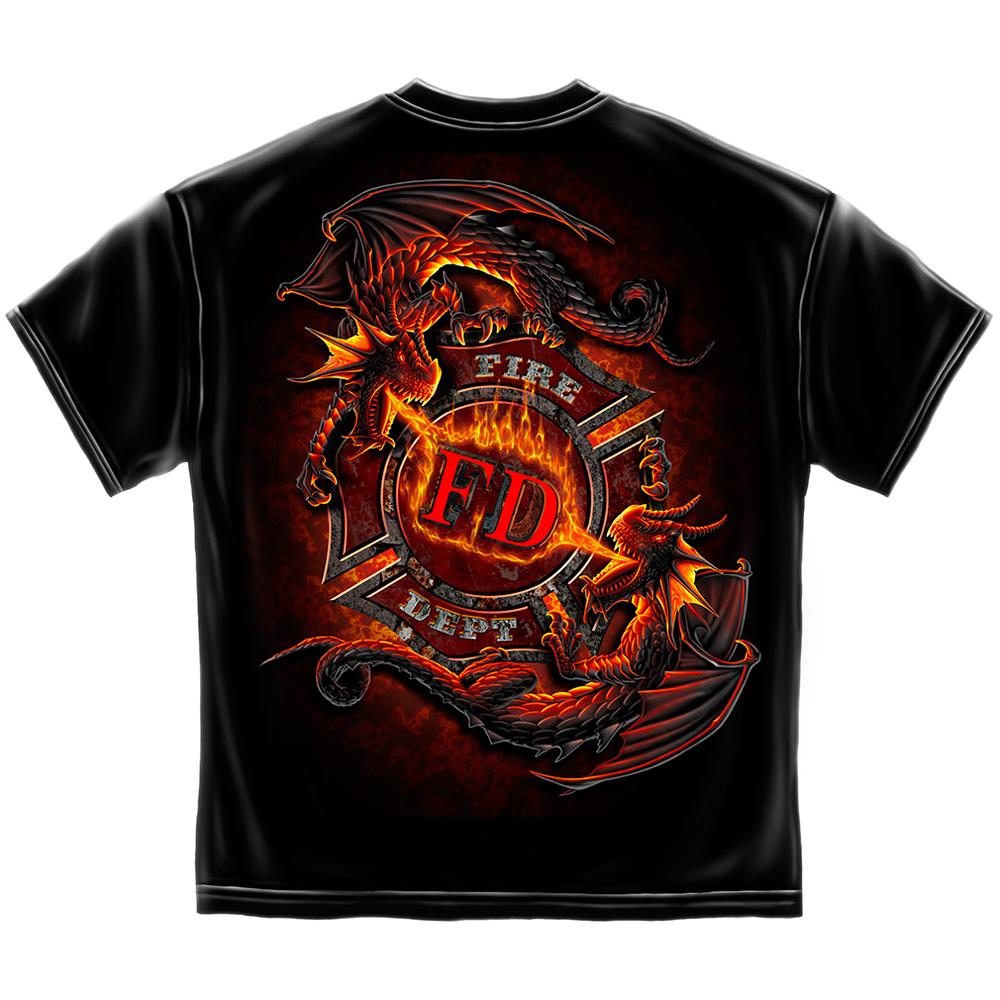 Ying Yang Fire Dept. Maltese Cross Dragons T-Shirt