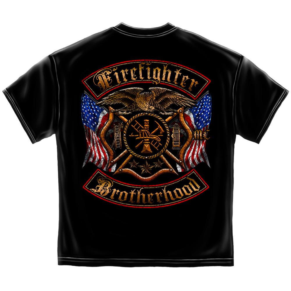 Erazor Bits Firefighter Double Flagged Brotherhood T-Shirt