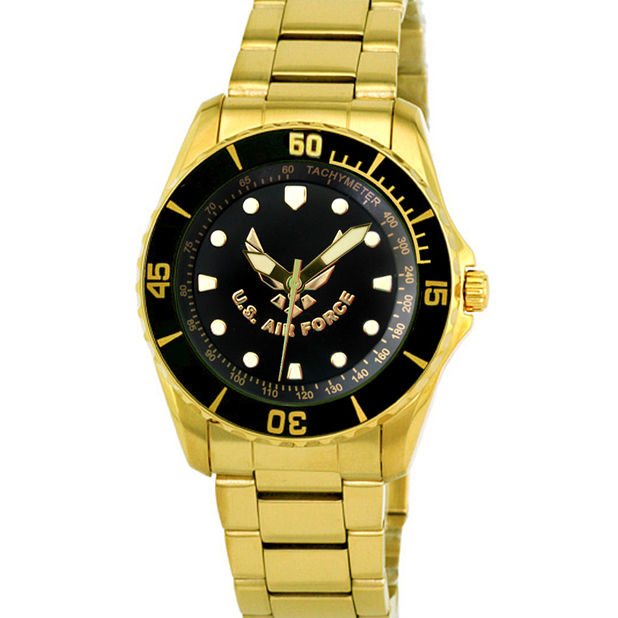 Aquaforce Model 61, Gold Stainless Steel Analog Watch with Branch Logo on Face
