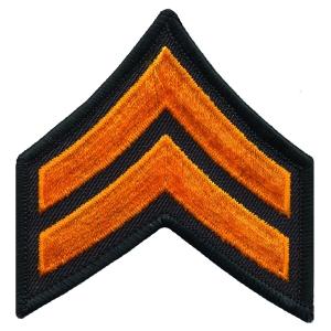 Corporal Chevron, 1 pair with Merrowed Edges on Black Border