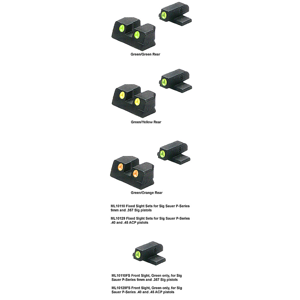 Meprolight Sig Sauer P Series, TRU-DOT Fixed Night Sights for 9mm, .357, .40, and .45 ACP
