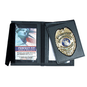 Perfect Fit Leather Thin Line Badge with Flip/Double ID Case & Framed Windows