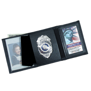 Perfect Fit Leather Custom Trifold Badge Wallet with Single ID
