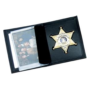 Perfect Fit Leather Badge Wallet, Bi-fold w/Single ID