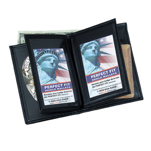 Perfect Fit Leather Badge, Double ID & Credit Card Wallet