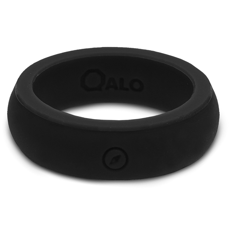 QALO Women's Outdoors Black Silicone Ring with Engraved Compass