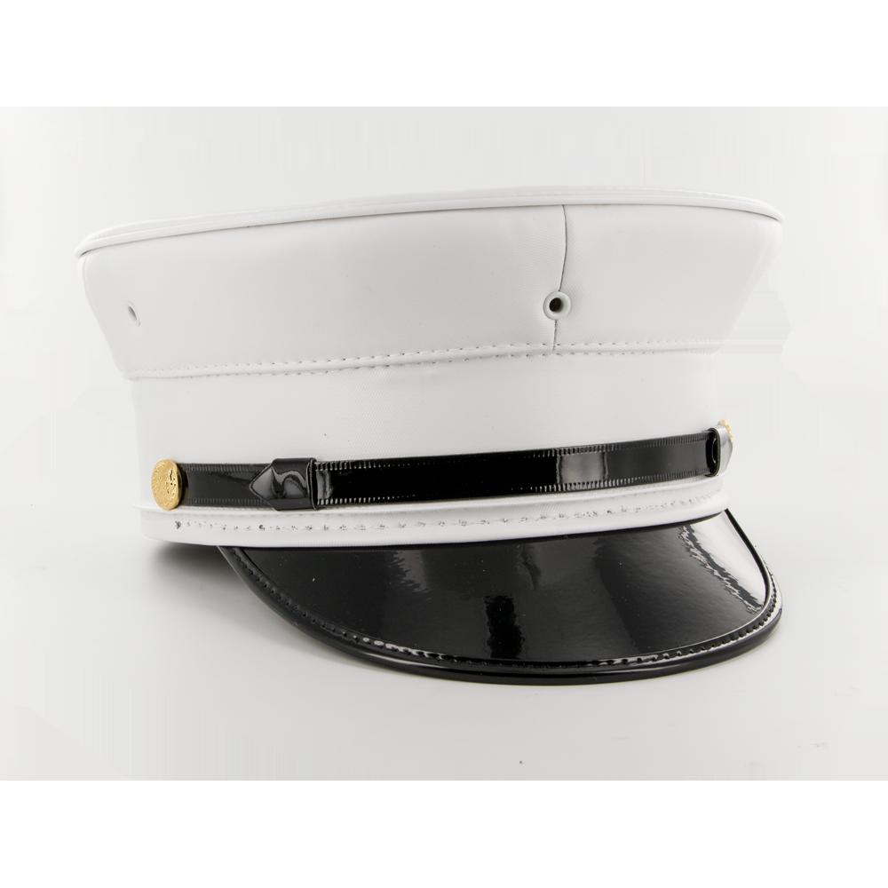 Keystone All-White Vinyl Uniform Bell Cap