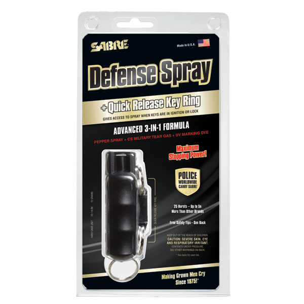 Sabre Key Ring Self Defense Spray with Quick Release