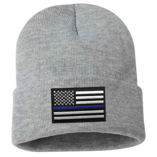 Thin Blue Line USA Beanie w/ Thin Blue Line Flag