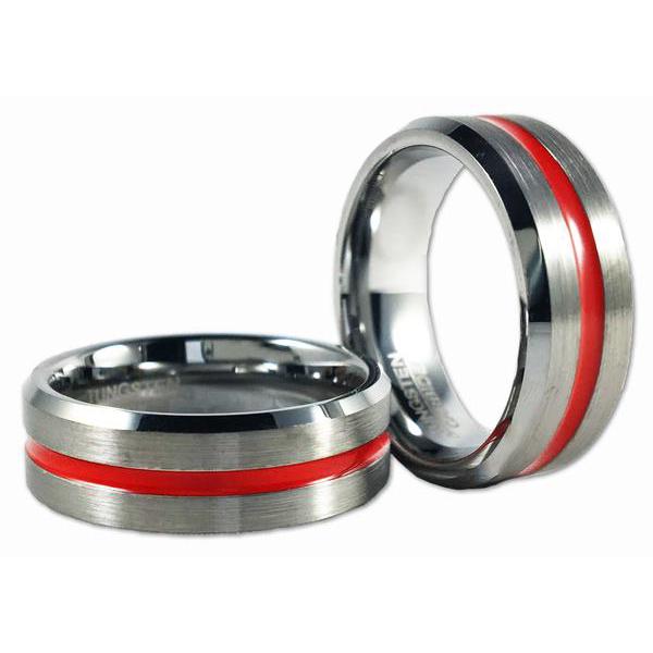 Men's Thin Red Line Tungsten Carbide Ring