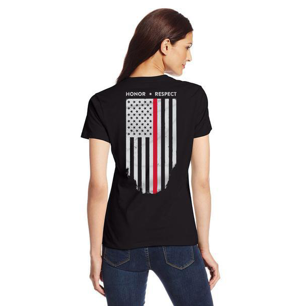 Women's Short-Sleeve T-Shirt w/ Thin Red Line Flag