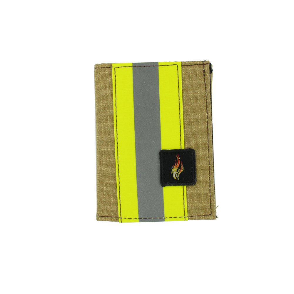 Exclusive Bunker Gear Trifold Dress Wallet with Single ID Window, PBI Gold Matrix, 2in Reflective Tape & Flame Patch