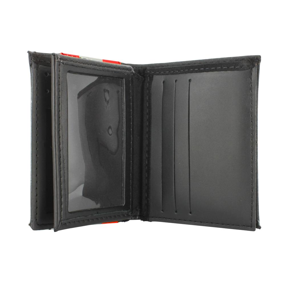 TheFireStore Exclusive Bunker Gear Bi-Fold Dress Wallet with 6 Credit Card Slots, Flip ID Window, Black PBI and Orange Triple Trim