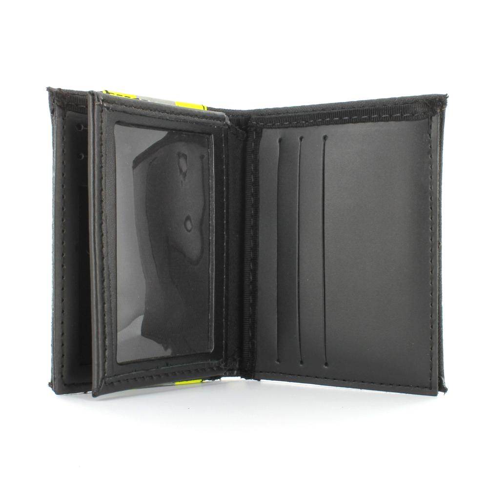 TheFireStore Exclusive Bunker Gear Bi-Fold Dress Wallet with 6 Credit Card Slots, Flip ID Window, Black PBI and Triple Trim
