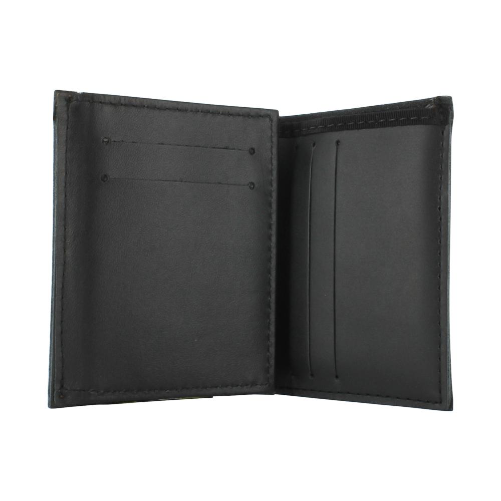 Exclusive Bunker Gear Dress Wallet with 6 Credit Card Slots, Flip Out Hidden ID Window, Black PBI and Orange Triple Trim