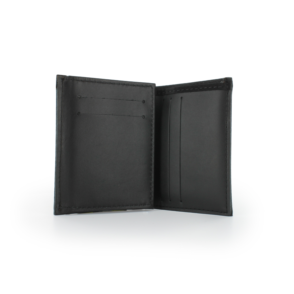 Exclusive Bunker Gear Dress Wallet with 6 Credit Card Slots, Flip Out Hidden ID Window, Black PBI and Triple Trim