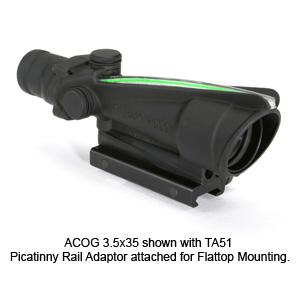 Trijicon ACOG 3.5x35 Scope, Dual Illumination, Flattop Adapter Mount, with Red Chevron Reticle
