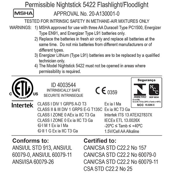 Nightstick XPP-5422 Intrinsically Safe Dual Flood & Flashlight