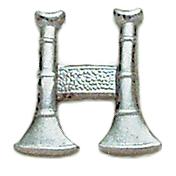 Smith & Warren Collar Pins, 2 Standing Bugles, Di-Cut, Pair