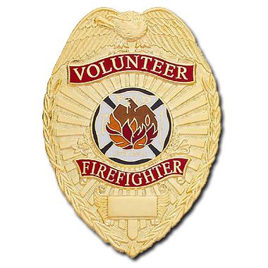 Smith & Warren Stock Badge, Volunteer Firefighter (Tear Drop)