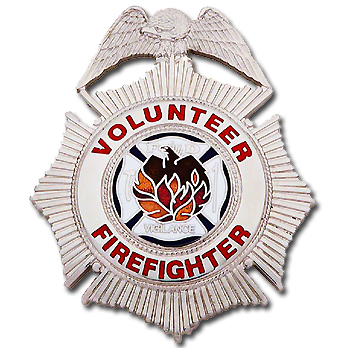 Smith & Warren Stock Badge, Volunteer Firefighter (Sunburst)